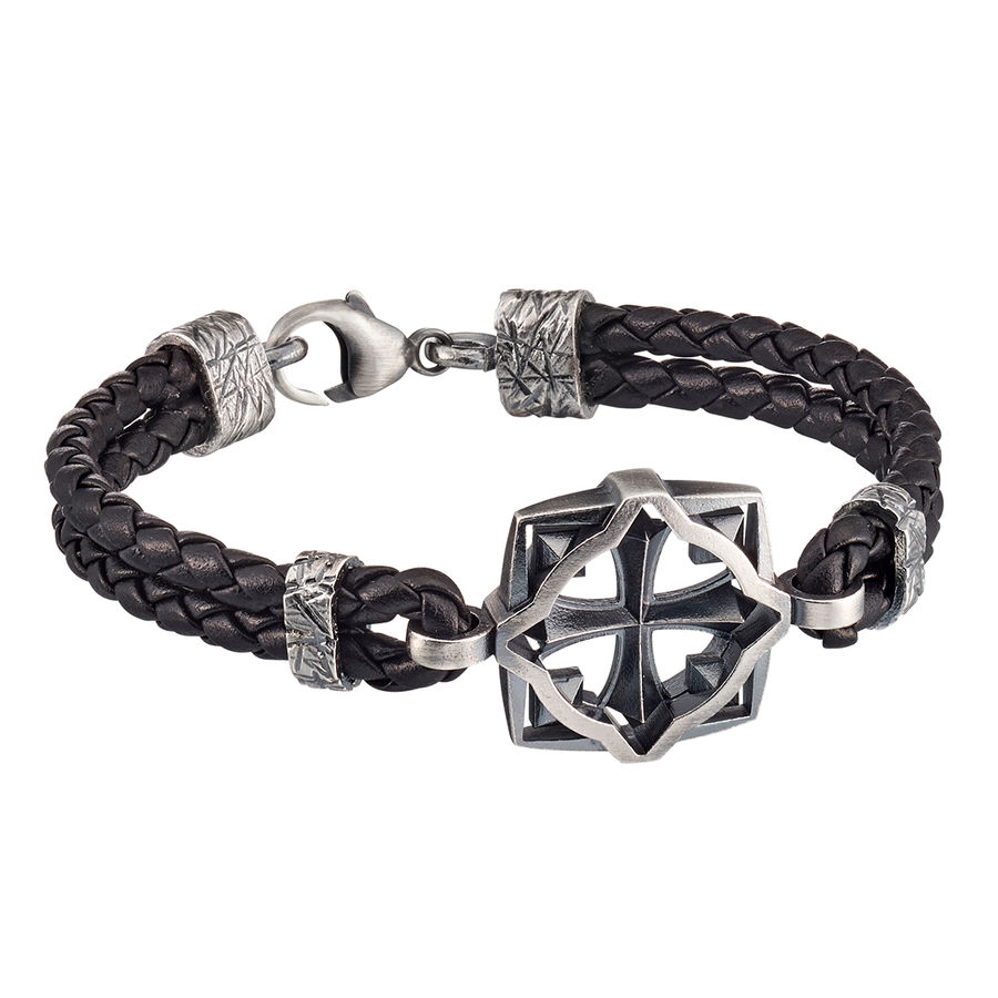 Lumoava Warrior bracelet, black leather wristband