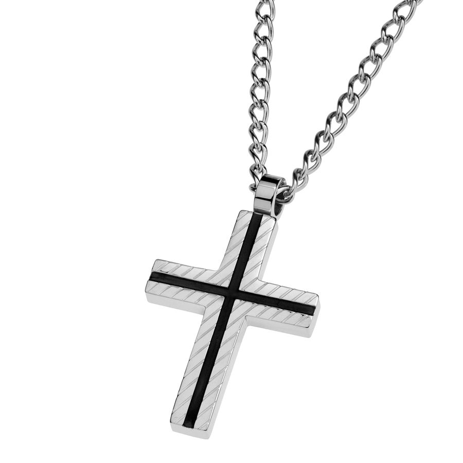 Steel cross pendant 36mm