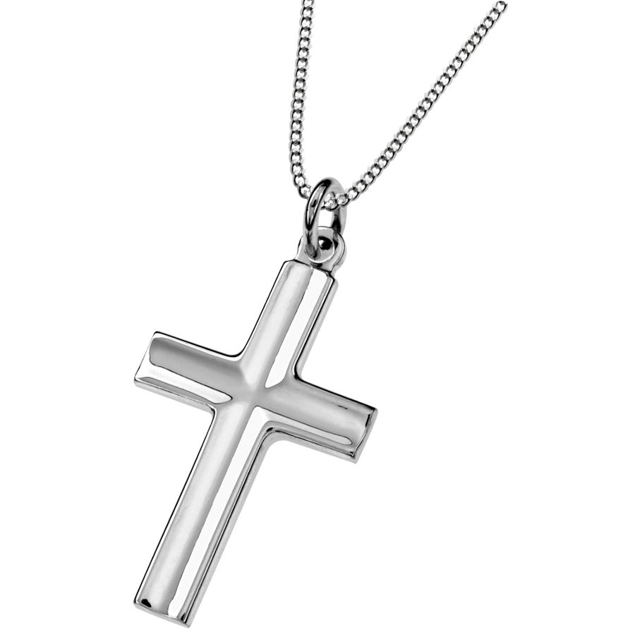 Silver cross pendant 17x30mm
