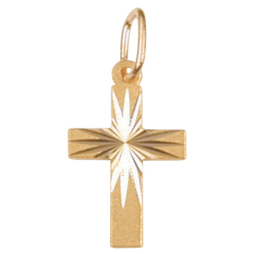 Gold cross pendant, diamond cut 8x13mm